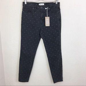 "Madewell 10"" High Rise Skinny Jeans Metallic Dot"